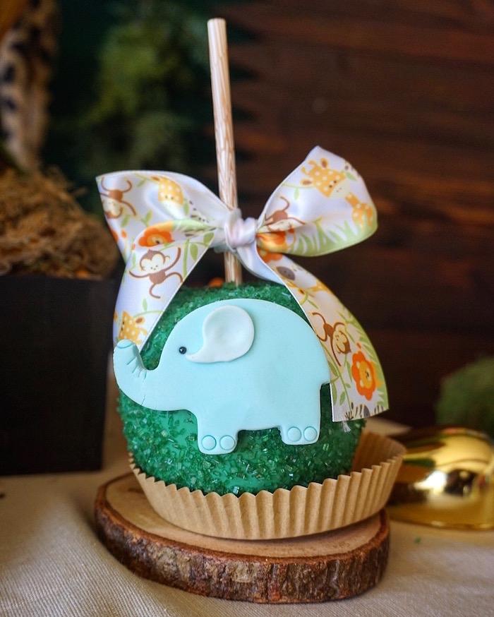 Elephant gourmet apple from a Safari Animal Baby Shower on Kara's Party Ideas | KarasPartyIdeas.com (8)