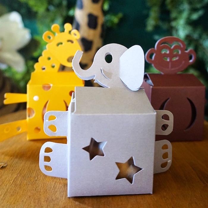 Safari animal boxes from a Safari Animal Baby Shower on Kara's Party Ideas | KarasPartyIdeas.com (7)