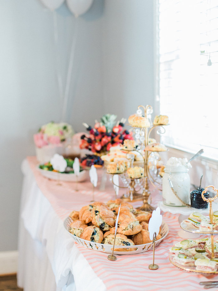perfect food table from a shabby chic hot air balloon baby shower on karaus party ideas with. Black Bedroom Furniture Sets. Home Design Ideas
