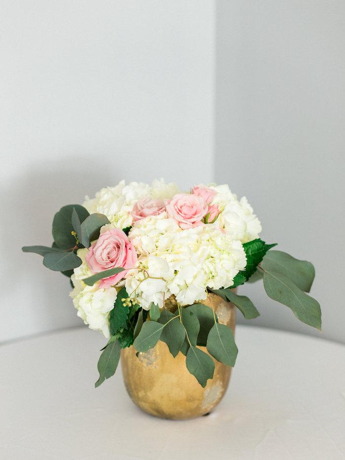 Floral arrangement from a Shabby Chic Hot Air Balloon Baby Shower on Kara's Party Ideas   KarasPartyIdeas.com (25)