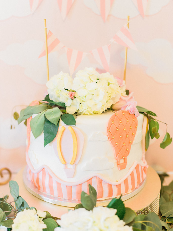 Hot Air Balloon Baby Shower Cake Part - 16: Shabby Chic Hot Air Balloon Cake From A Shabby Chic Hot Air Balloon Baby  Shower On