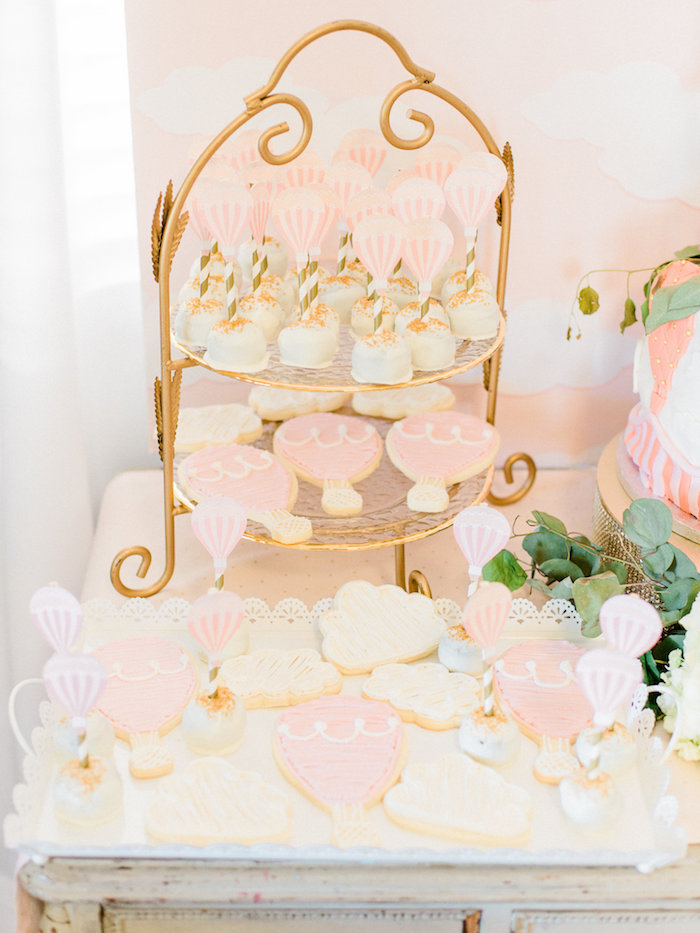 Cake pops & cookies from a Shabby Chic Hot Air Balloon Baby Shower on Kara's Party Ideas | KarasPartyIdeas.com (20)