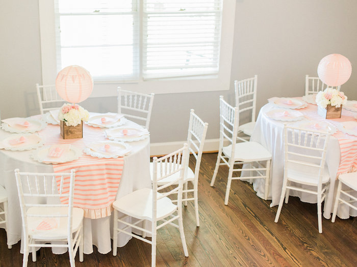 Shabby chic guest tables from a Shabby Chic Hot Air Balloon Baby Shower on Kara's Party Ideas | KarasPartyIdeas.com (19)