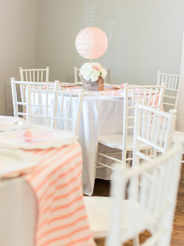 Guest table from a Shabby Chic Hot Air Balloon Baby Shower on Kara's Party Ideas | KarasPartyIdeas.com (17)