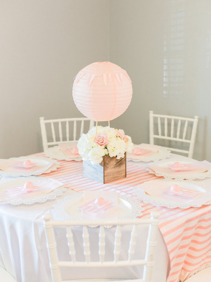 Hot Air Balloon Guest Table from a Shabby Chic Hot Air Balloon Baby Shower on Kara's Party Ideas | KarasPartyIdeas.com (16)