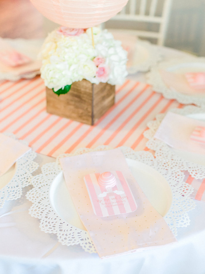 Place setting from a Shabby Chic Hot Air Balloon Baby Shower on Kara's Party Ideas | KarasPartyIdeas.com (15)