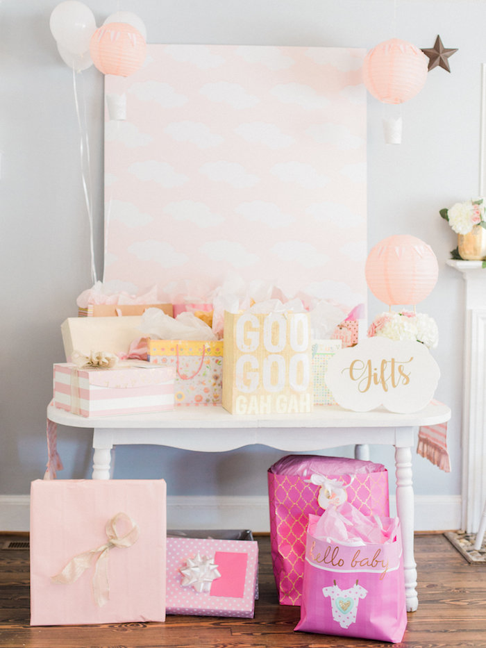 Gift table from a Shabby Chic Hot Air Balloon Baby Shower on Kara's Party Ideas | KarasPartyIdeas.com (13)