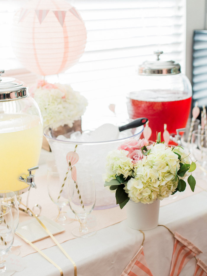 Beverage table from a Shabby Chic Hot Air Balloon Baby Shower on Kara's Party Ideas | KarasPartyIdeas.com (10)