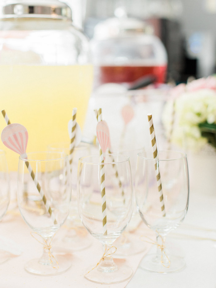 Glasses with hot air balloon-adorned straws from a Shabby Chic Hot Air Balloon Baby Shower on Kara's Party Ideas | KarasPartyIdeas.com (8)