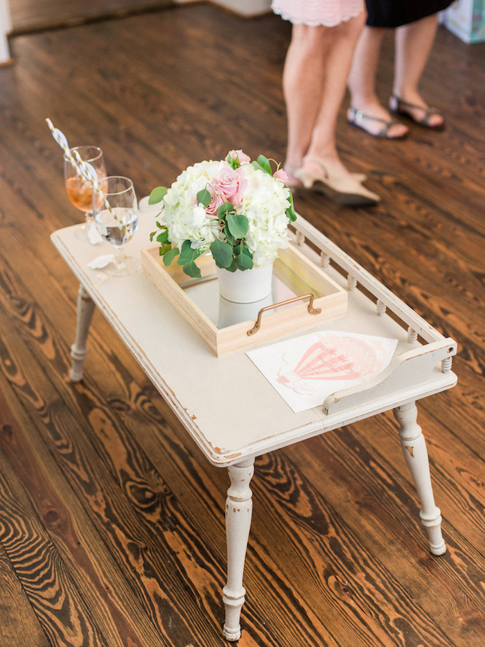 Shabby chic end/coffee table from a Shabby chic table from a Shabby Chic Hot Air Balloon Baby Shower on Kara's Party Ideas | KarasPartyIdeas.com (7)