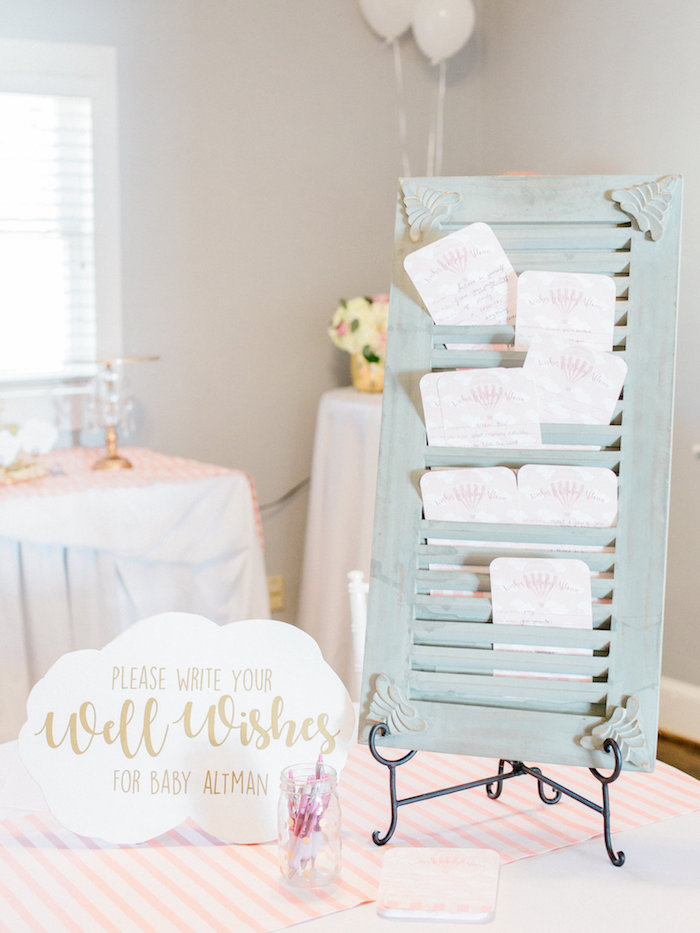 Vintage shutter filled with wishes for baby from a Shabby Chic Hot Air Balloon Baby Shower on Kara's Party Ideas | KarasPartyIdeas.com (5)
