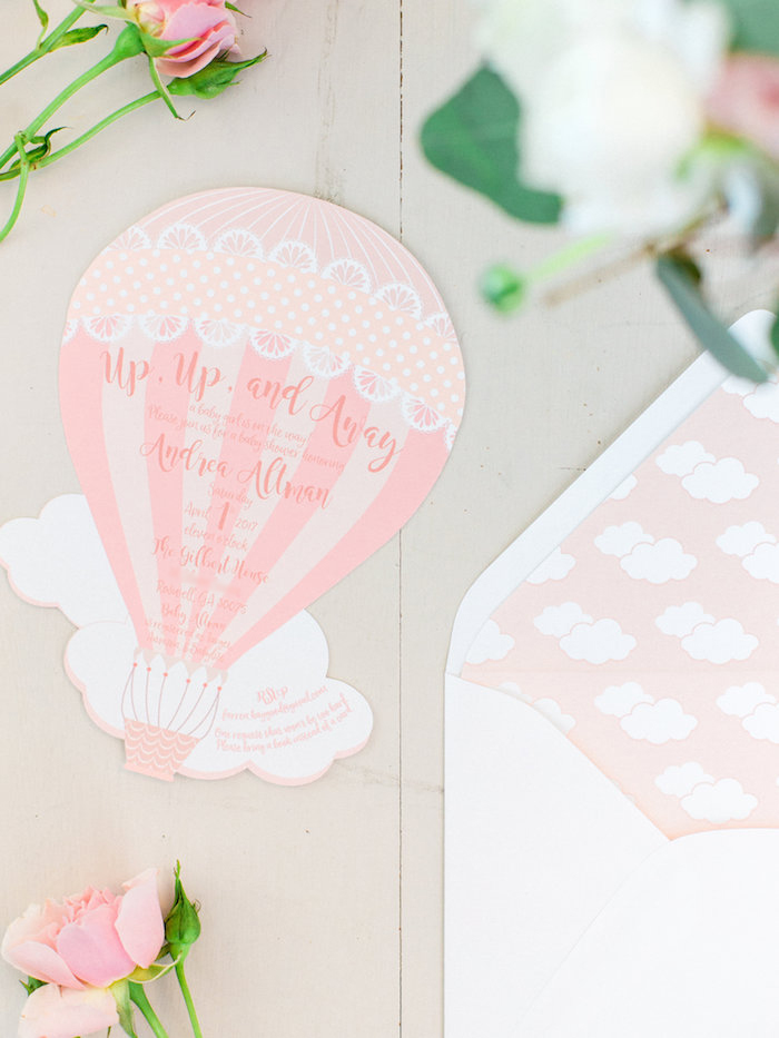 Hot Air Balloon Party Invite from a Shabby Chic Hot Air Balloon Baby Shower on Kara's Party Ideas | KarasPartyIdeas.com (4)