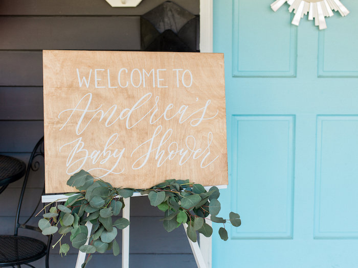 Custom wood welcome sign from a Shabby Chic Hot Air Balloon Baby Shower on Kara's Party Ideas | KarasPartyIdeas.com (39)