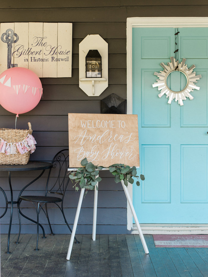 Entrance decor from a Shabby Chic Hot Air Balloon Baby Shower on Kara's Party Ideas | KarasPartyIdeas.com (38)