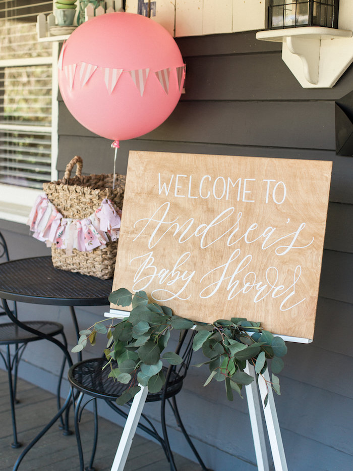 Custom wood welcome sign from a Shabby Chic Hot Air Balloon Baby Shower on Kara's Party Ideas | KarasPartyIdeas.com (37)