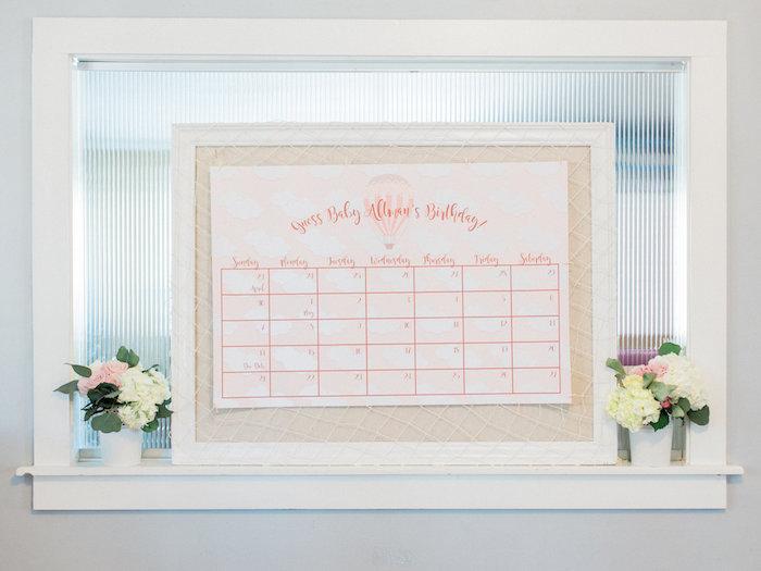 Guessing game calendar from a Shabby Chic Hot Air Balloon Baby Shower on Kara's Party Ideas   KarasPartyIdeas.com (36)