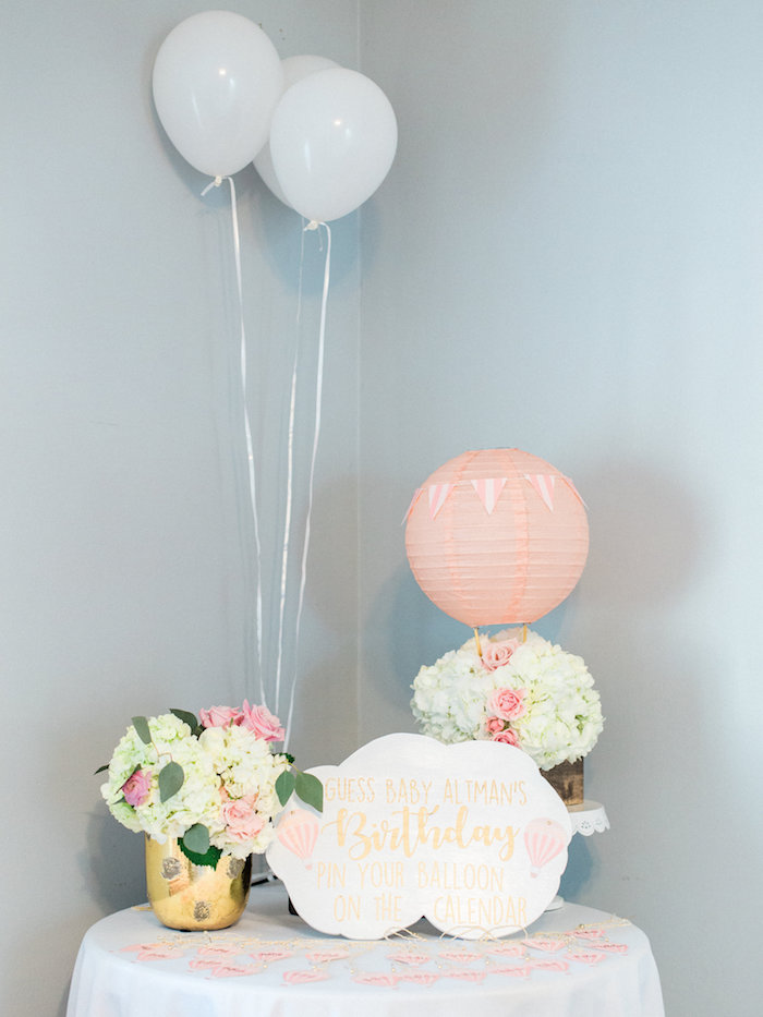 Shabby chic table + game from a Shabby Chic Hot Air Balloon Baby Shower on Kara's Party Ideas | KarasPartyIdeas.com (35)