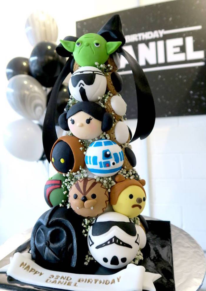 Star Wars character cookie tower from a Star Wars Birthday Party on Kara's Party Ideas | KarasPartyIdeas.com (13)