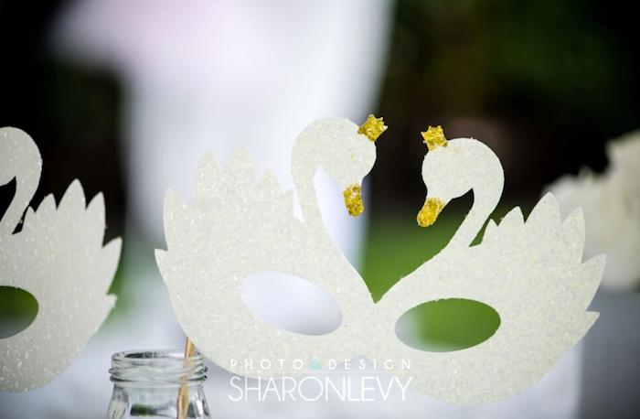 Swan mask from a Swan Lake Birthday Party on Kara's Party Ideas   KarasPartyIdeas.com (15)
