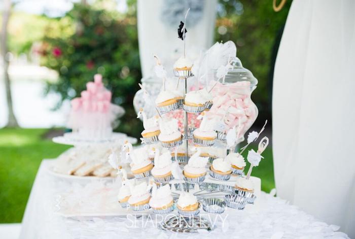 Swan Cupcakes from a Swan Lake Birthday Party on Kara's Party Ideas   KarasPartyIdeas.com (23)