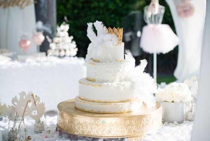Swan Cake from a Swan Lake Birthday Party on Kara's Party Ideas   KarasPartyIdeas.com (21)