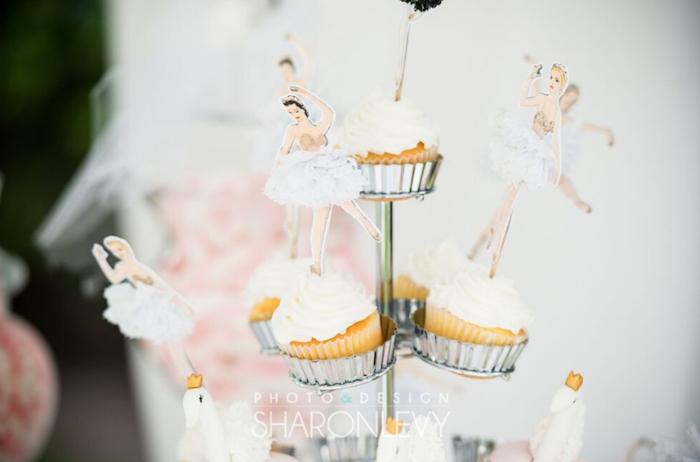 Swan Lake Dancer Cupcakes from a Swan Lake Birthday Party on Kara's Party Ideas   KarasPartyIdeas.com (20)