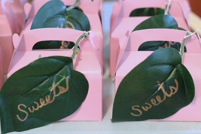 Gable sweet boxes adorned with tropical leaves from The Beverly Hills Hotel Inspired Favorite Things Party on Kara's Party Ideas | KarasPartyIdeas.com (27)