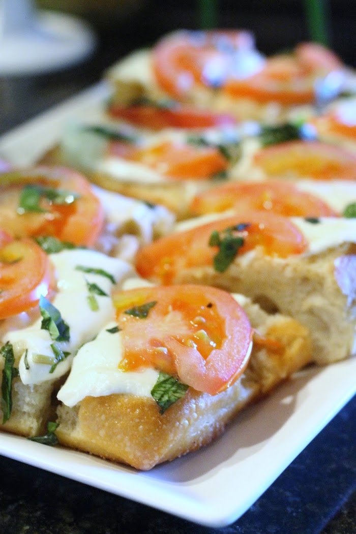 Caprese bread from The Beverly Hills Hotel Inspired Favorite Things Party on Kara's Party Ideas | KarasPartyIdeas.com (20)