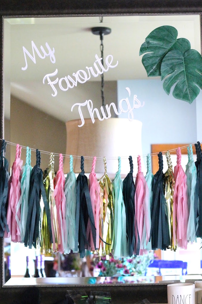 Tassel garland + decor from a The Beverly Hills Hotel Inspired Favorite Things Party on Kara's Party Ideas | KarasPartyIdeas.com (15)