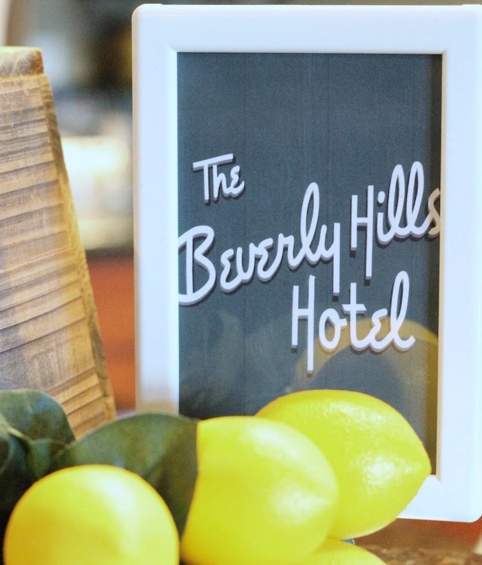 Beverly Hills Hotel Party Signage from The Beverly Hills Hotel Inspired Favorite Things Party on Kara's Party Ideas | KarasPartyIdeas.com (8)