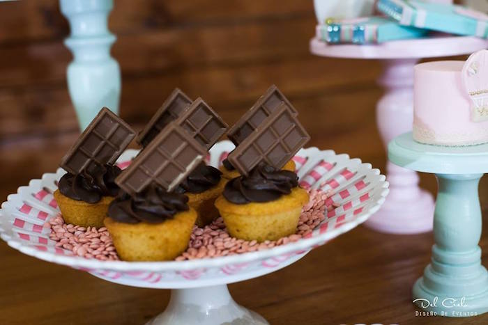 Desserts topped with chocolate from a Vintage Hot Air Balloon Birthday Party on Kara's Party Ideas | KarasPartyIdeas.com (12)