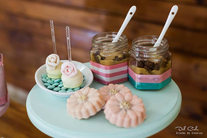 Cake pops, chocolate flowers and dessert jars from a Vintage Hot Air Balloon Birthday Party on Kara's Party Ideas | KarasPartyIdeas.com (16)
