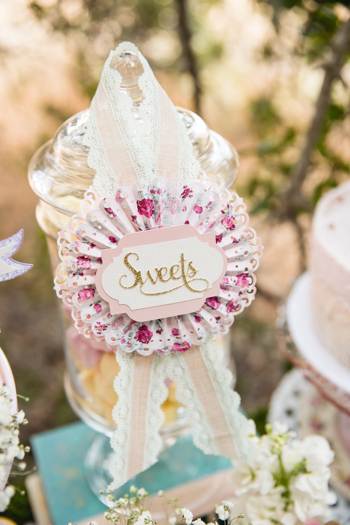 Sweet ribbon label from a Vintage Tea Party on Kara's Party Ideas | KarasPartyIdeas.com (44)