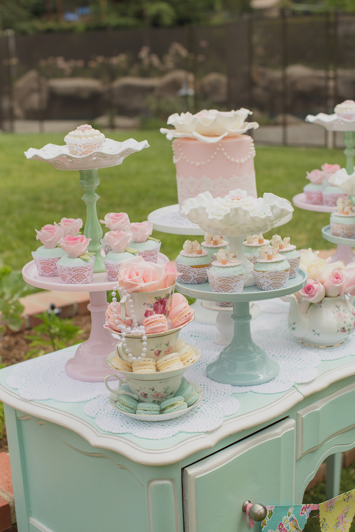 Kara's Party Ideas Pink Vintage Tea Party | Kara's Party Ideas