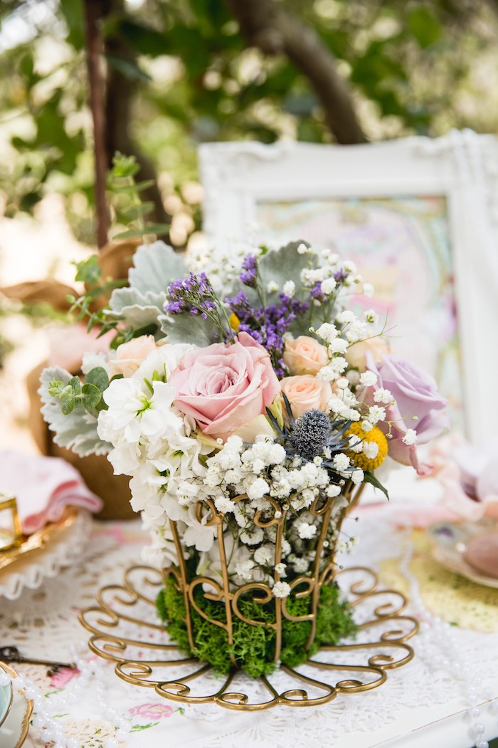Floral centerpiece from a Vintage Tea Party on Kara's Party Ideas | KarasPartyIdeas.com (26)
