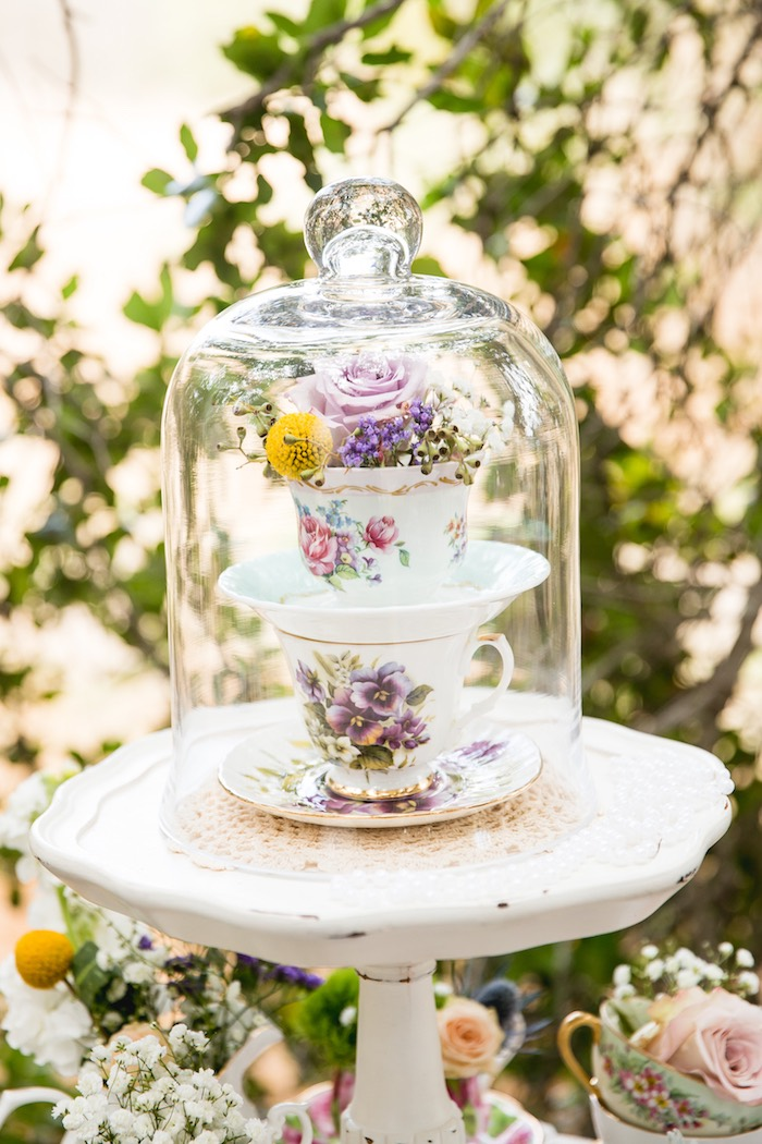 Tea cup dome from a Vintage Tea Party on Kara's Party Ideas | KarasPartyIdeas.com (22)