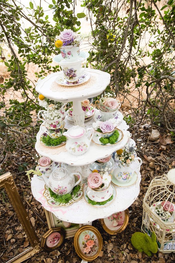 Tea cup arrangements from a Vintage Tea Party on Kara's Party Ideas | KarasPartyIdeas.com (21)