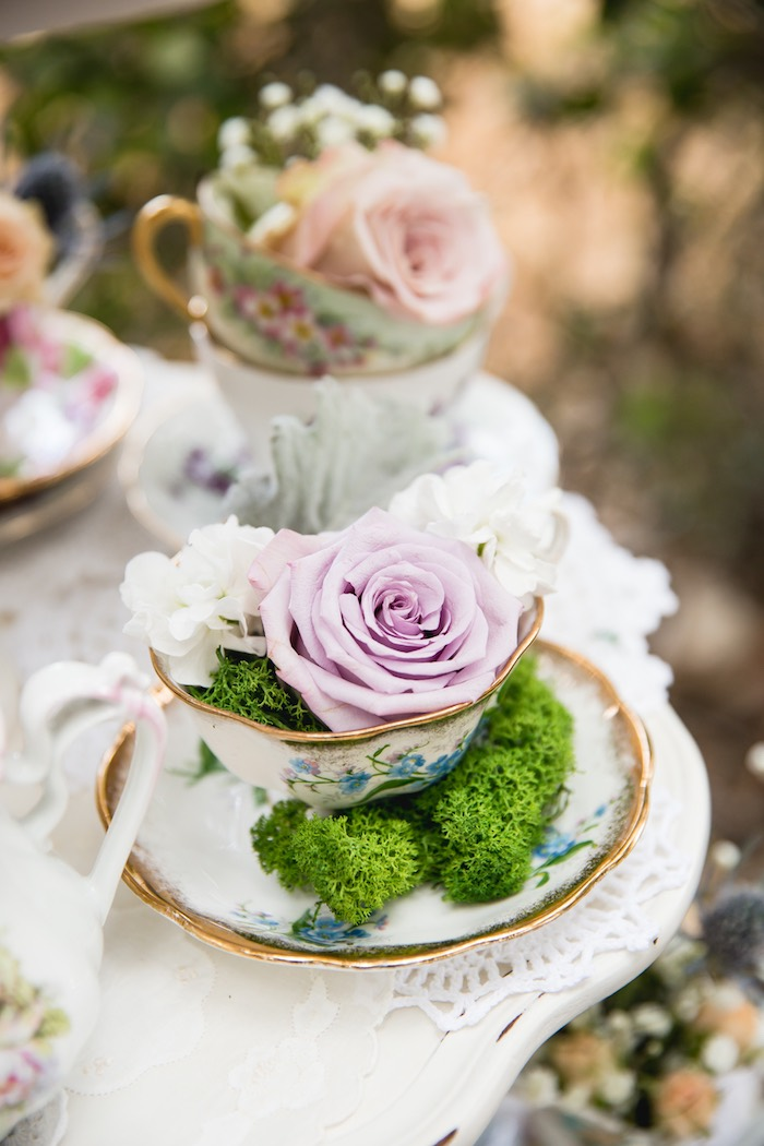Tea cup flower arrangement from a Vintage Tea Party on Kara's Party Ideas | KarasPartyIdeas.com (20)