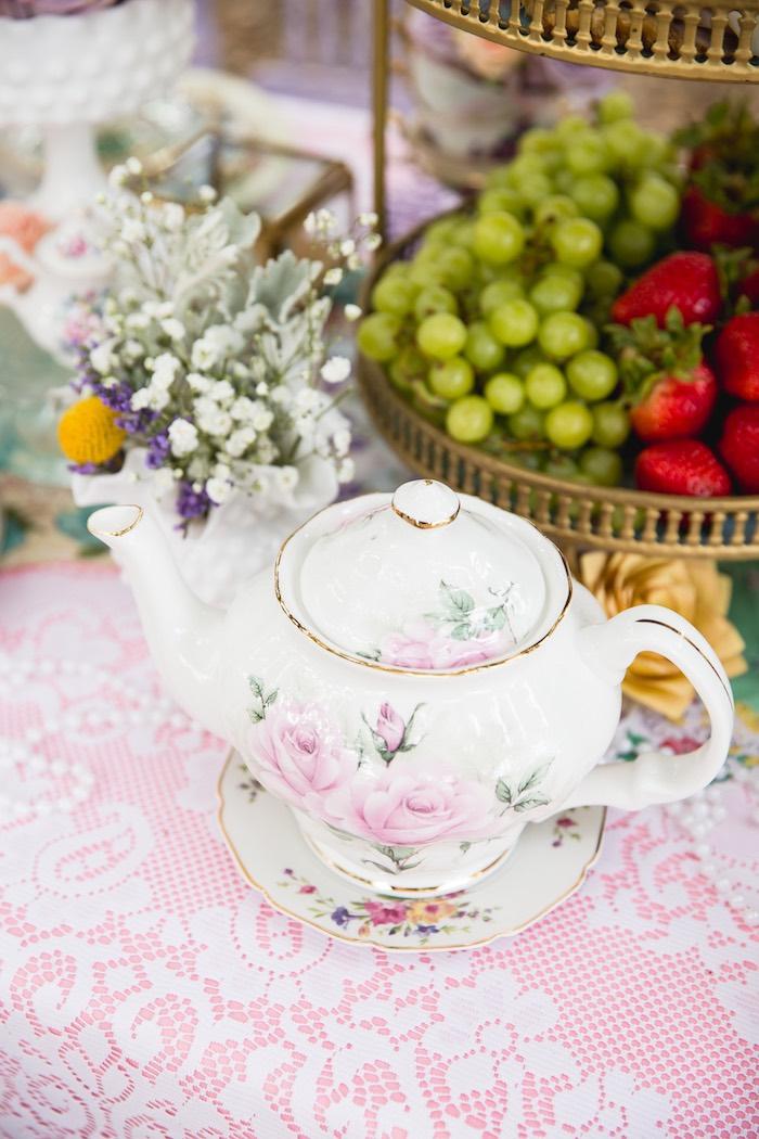 Tea kettle from a Vintage Tea Party on Kara's Party Ideas | KarasPartyIdeas.com (18)