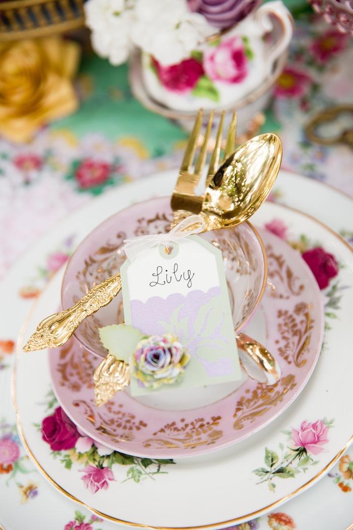 Tea bag place card from a Vintage Tea Party on Kara's Party Ideas | KarasPartyIdeas.com (17)