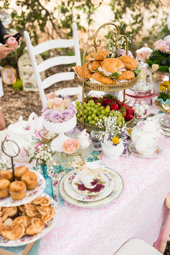 Guest table from a Vintage Tea Party on Kara's Party Ideas | KarasPartyIdeas.com (12)