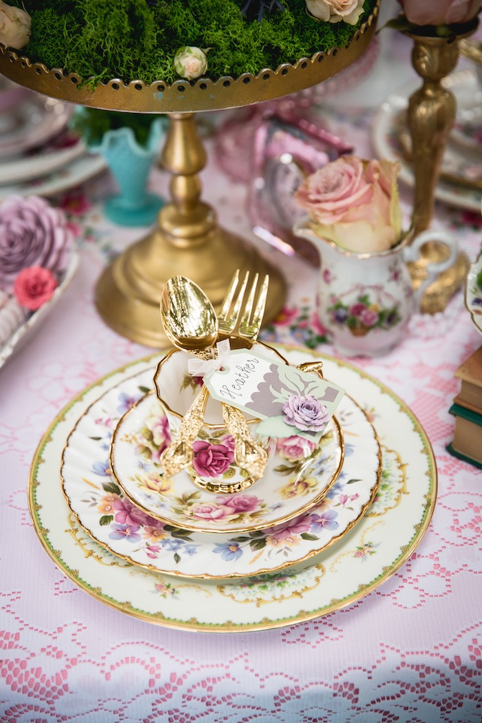 Place setting from a Vintage Tea Party on Kara's Party Ideas | KarasPartyIdeas.com (10)