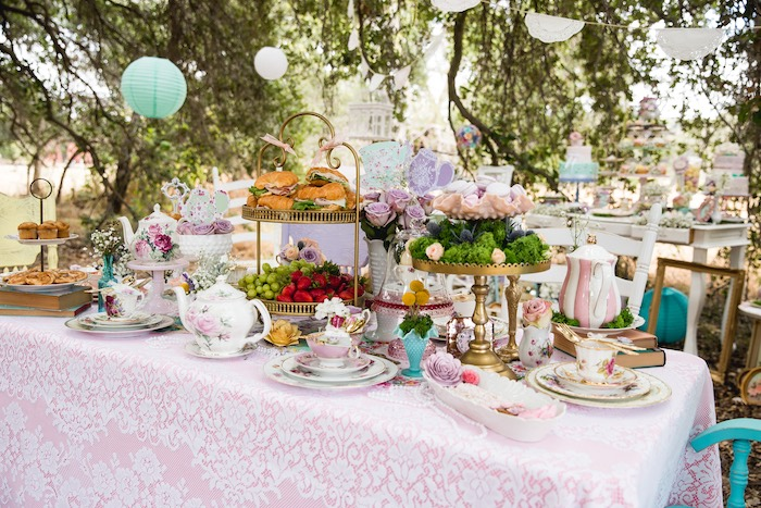 Guest table from a Vintage Tea Party on Kara's Party Ideas | KarasPartyIdeas.com (9)