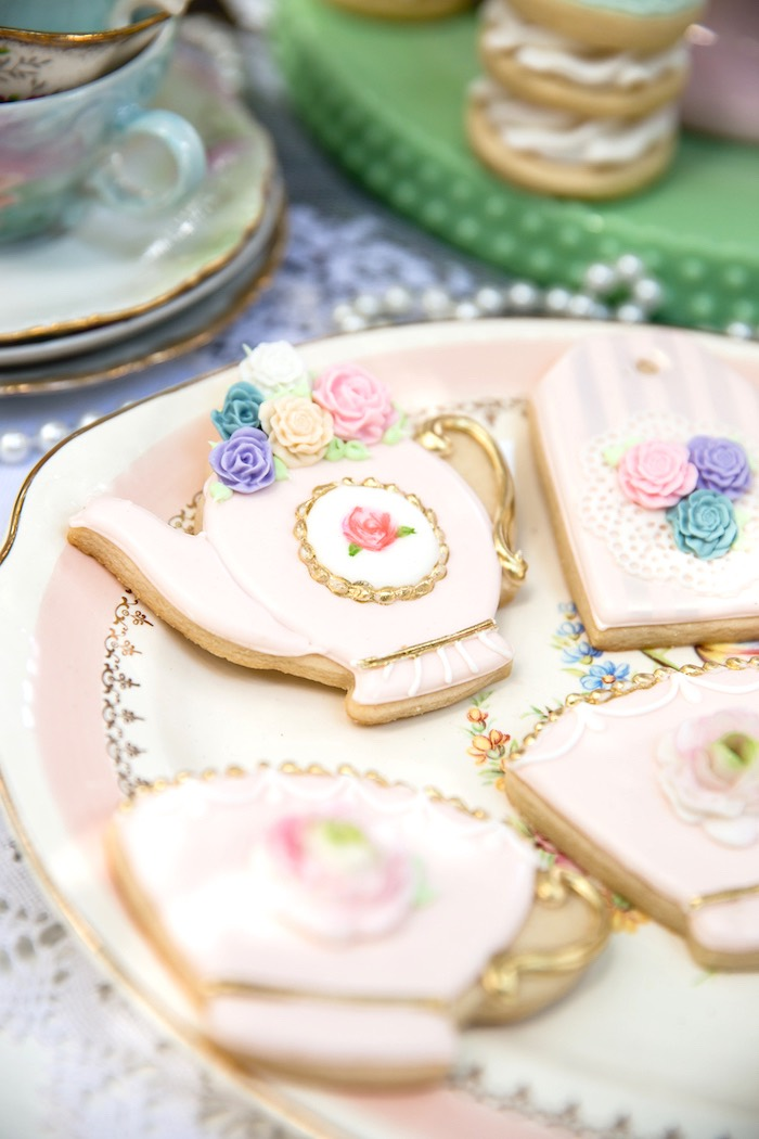 Cookies from a Vintage Tea Party on Kara's Party Ideas | KarasPartyIdeas.com (5)