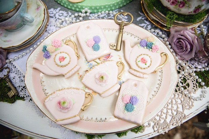 Tea-time cookies from a Vintage Tea Party on Kara's Party Ideas | KarasPartyIdeas.com (47)