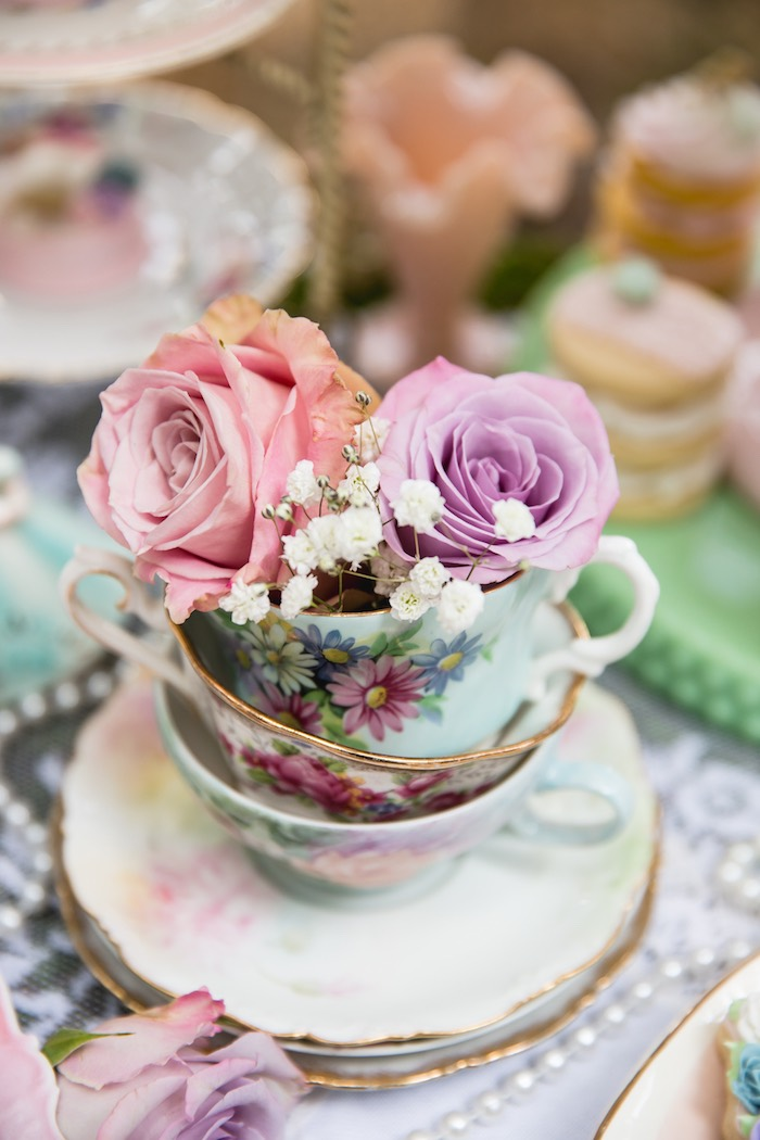 Tea cups and blooms from a Vintage Tea Party on Kara's Party Ideas | KarasPartyIdeas.com (46)
