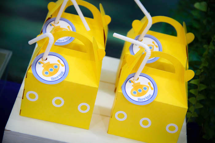 Yellow Submarnie Gable Lunch Boxes from a Yellow Submarine Ocean Birthday Party on Kara's Party Ideas | KarasPartyIdeas.com (16)