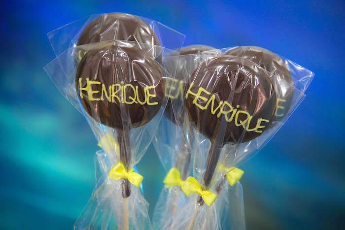 Custom chocolate lollipops from a Yellow Submarine Ocean Birthday Party on Kara's Party Ideas | KarasPartyIdeas.com (14)
