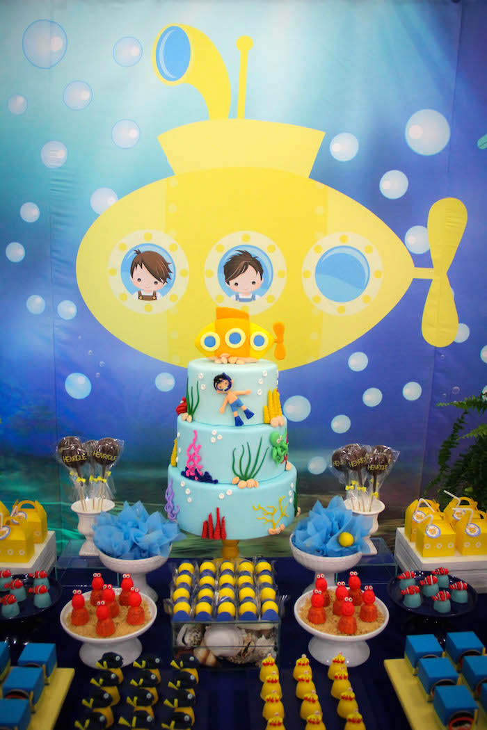 Cakescape from a Yellow Submarine Ocean Birthday Party on Kara's Party Ideas | KarasPartyIdeas.com (12)