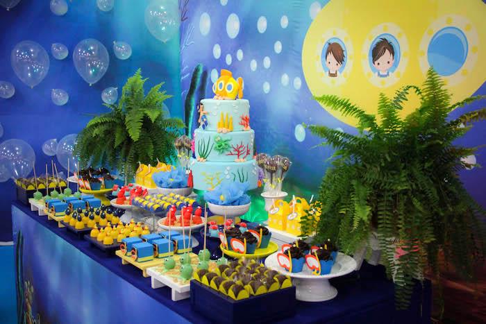 Dessert table from a Yellow Submarine Ocean Birthday Party on Kara's Party Ideas | KarasPartyIdeas.com (11)